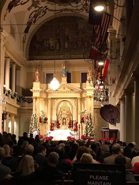 Inside the St. Louis Cathedral on Christmas Eve.