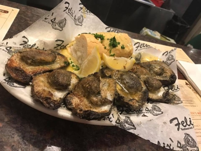 Oysters at Felix's Oyster House in New Orleans, LA