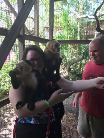 Us hanging out with monkeys in Roatan.