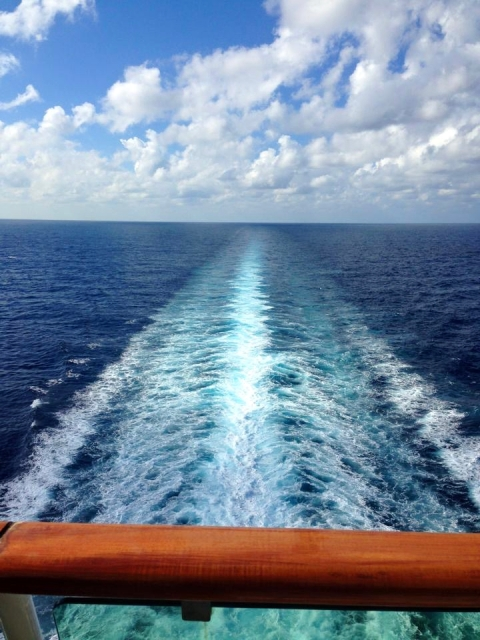 A view of the ocean from the back of the Serenade of the Seas Cruise Ship