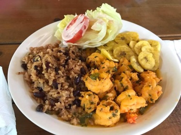 Fried shrimp in Roatan.