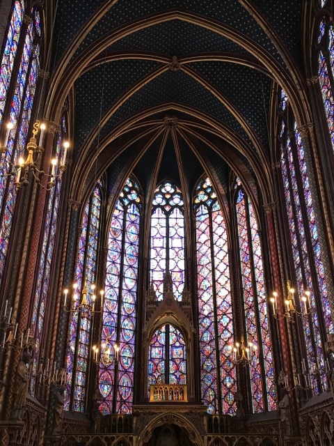 Inside Sainte-Chapelle in Paris, France