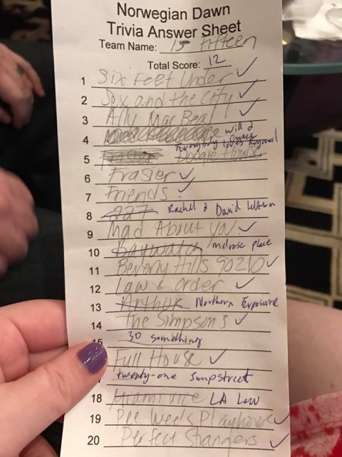 Our trivia scorecard from music trivia.