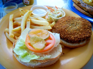 The turtle burger at Paradise Grill in Grand Cayman