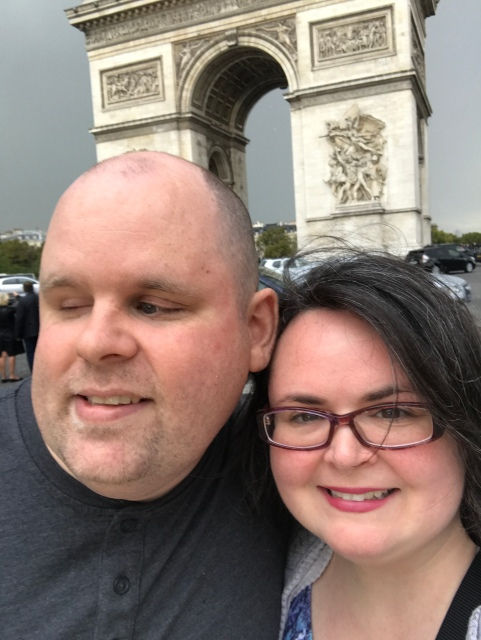 Us at the Arc de Triomphe in Paris, France