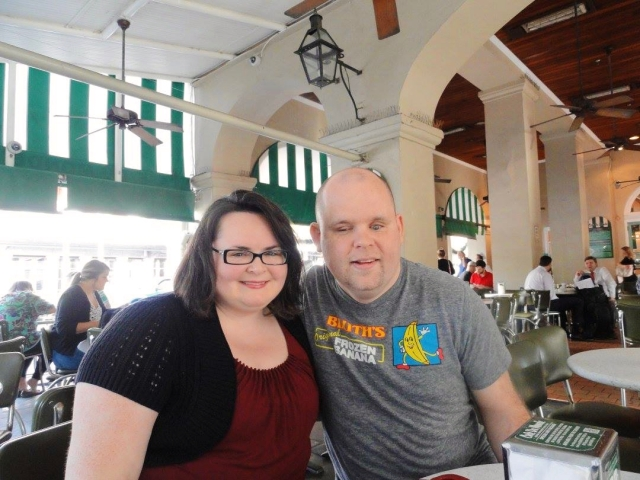 A picture of Kathleen and Paul enjoying breakfast in New Orleans, LA