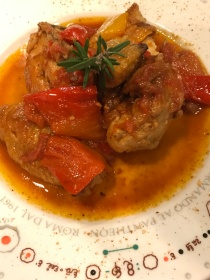 Chicken and peppers at Armando al Pantheon in Rome, Italy