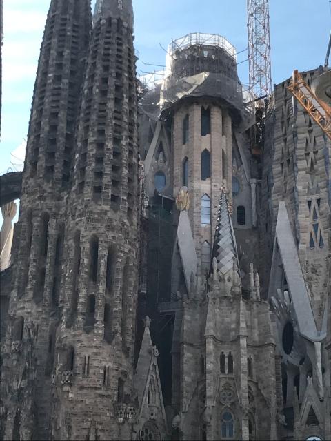 A view of the outside of La Sagrada Familia in Barcelona, Spain