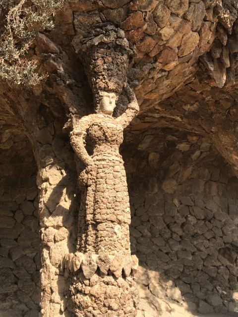 A statue inside Park Guell in Barcelona, Spain