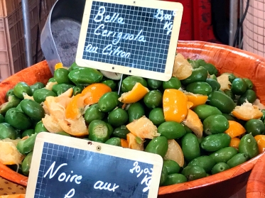 Olives at a local market in Cannes, France