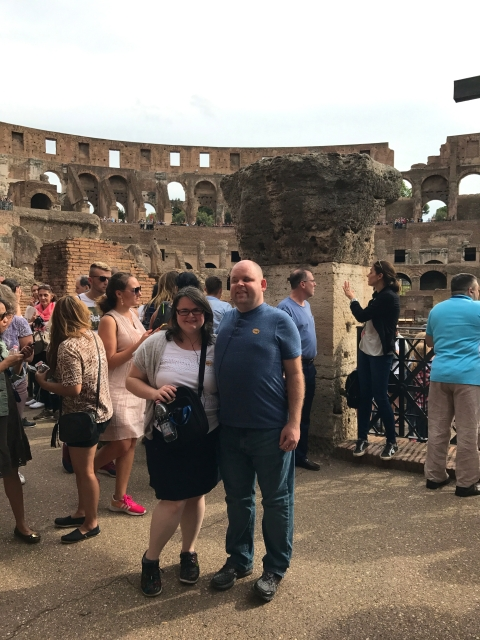 Us at the Colosseum in Rome, Italy