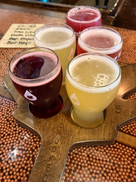 A flight of beer at Crooked Run Brewing