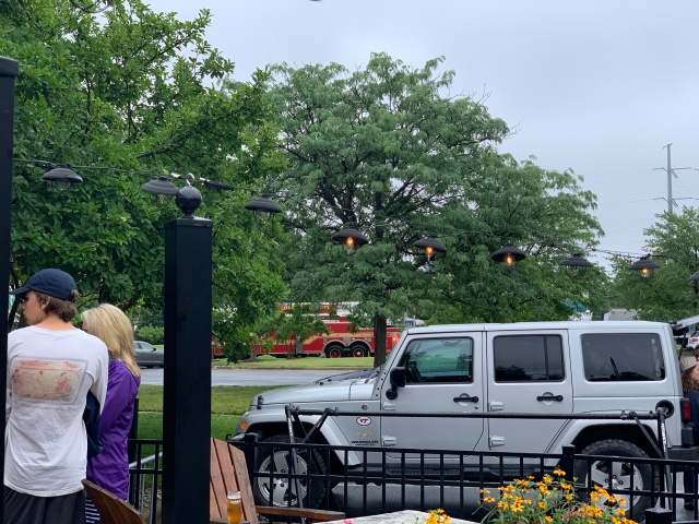 A fire truck approaching Crooked Run Brewing