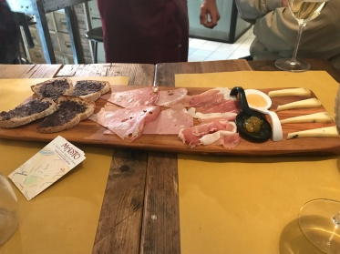 A plate of food at Masto wine bar in Rome, Italy