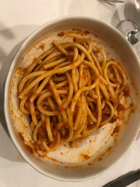 Pasta amatriciana at Hostaria Romana in Rome, Italy
