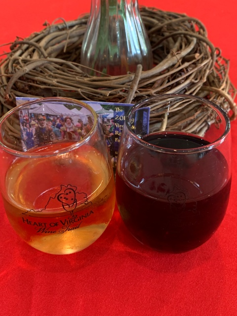 Wine glasses at Lake Anna Winery
