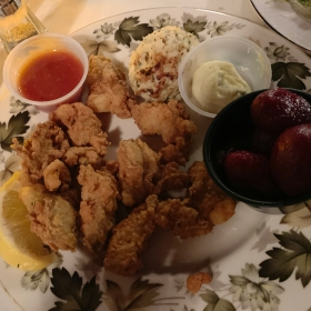 Fried oysters at Tavern on the Rail at Lake Anna, VA