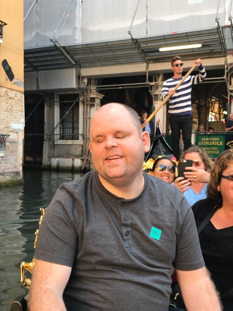 A picture of us on a gondola ride in Venice, Italy