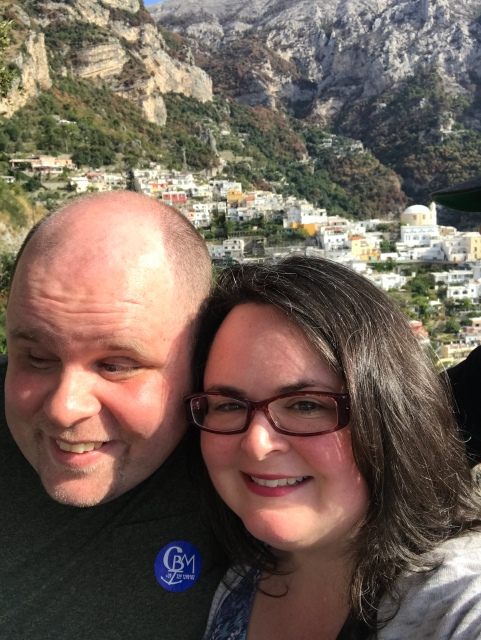 A picture of us standing along the Amalfi Drive in Italy