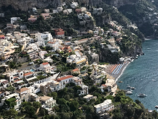 A view of the city of Positano from the Amalfi Drive