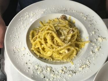 Pasta carbonara in Rome, Italy