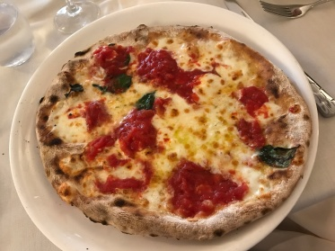 A picture of pizza in Sorrento, Italy