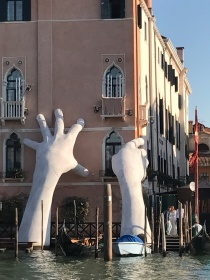 The famous hands sculpture in Venice, Italy