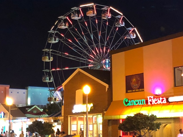 The amusement park area on the boardwalk in Virginia Beach, VA