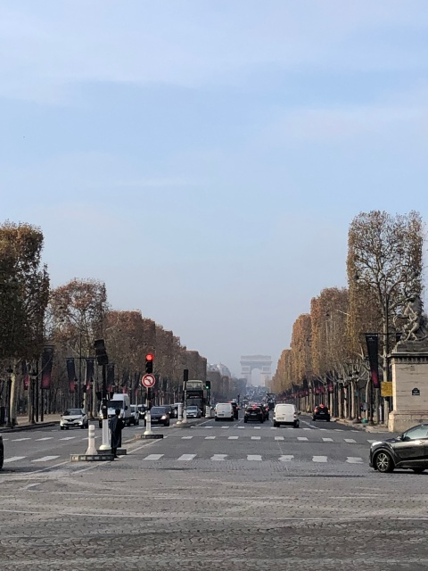 A view toward the Arc de Triomphe from the Place de la Concorde in Paris, France