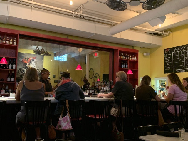 A view of the bar at Cheesetique in Alexandria, Virginia