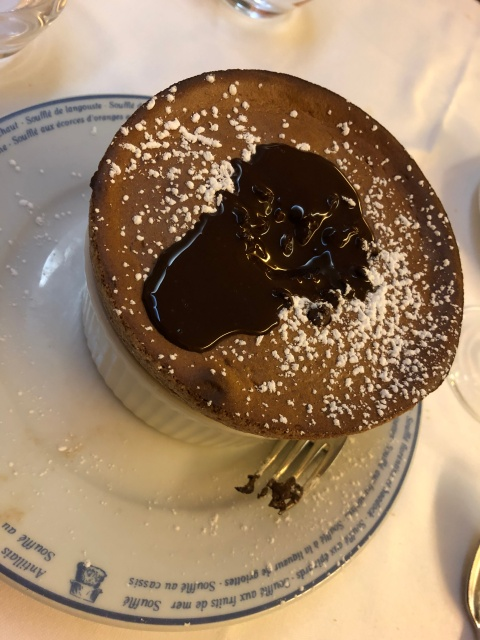 The chocolate souffle at Le Souffle in Paris, France