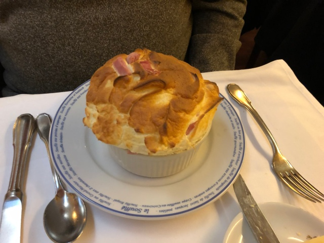 The ham and cheese souffle at Le Souffle in Paris, France