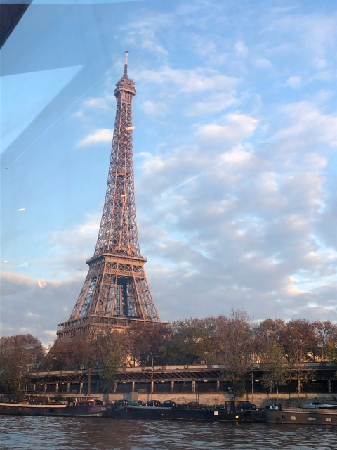 A view of the Eiffel Tower from our boat tour in Paris, France
