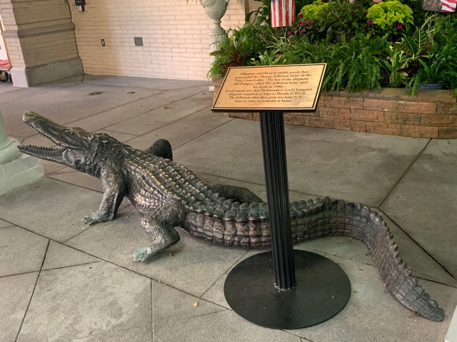 The gator outside the Jefferson Hotel in Richmond, Virginia