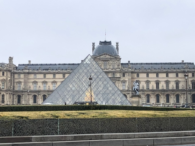 The famous pyramid outside the Louvre in Paris, France