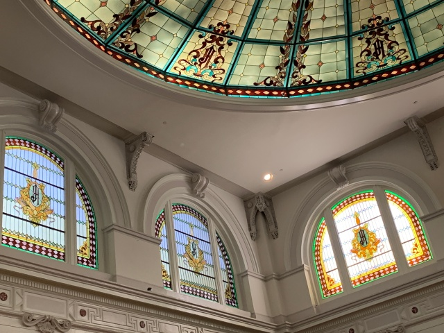The stained glass in the lobby of the Jefferson Hotel in Richmond, Virginia