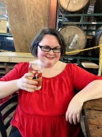 Kathleen drinking cider at Buskey Cider in Richmond, Virginia