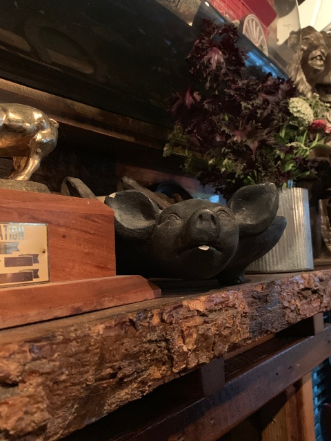 The pig decor at Lunch.Supper! in Richmond, Virginia