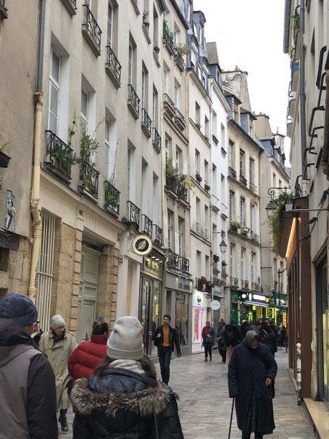 A view of a street in the Marais neighborhood of Paris
