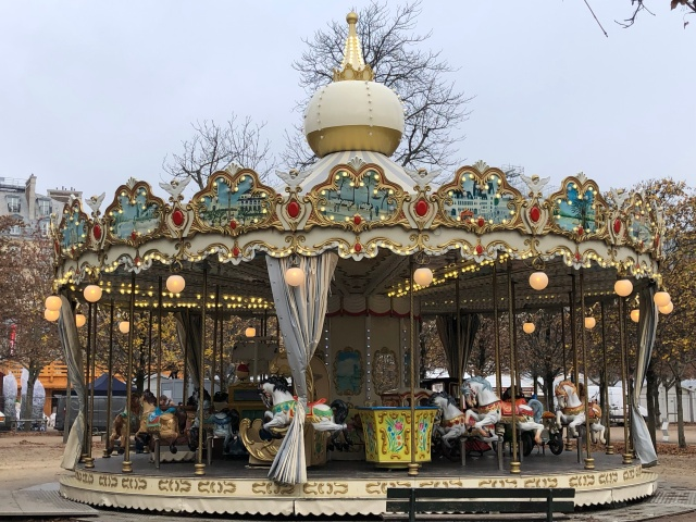 The merry go round in the Tuileries Garden in Paris, France