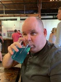 Paul drinking cider at Buskey Cider in Richmond, Virginia