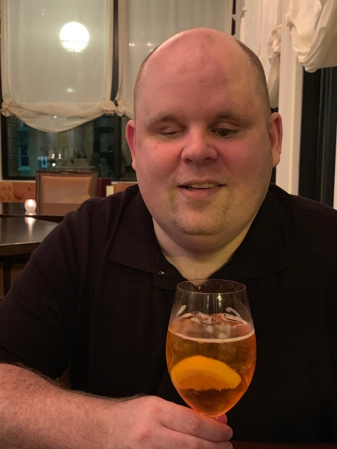 Paul drinking a spritz at Lemaire in Richmond, Virginia