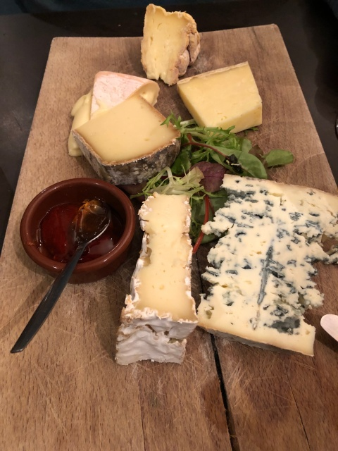 Cheese board at Au Doux Raisin in Paris, France