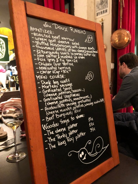 The menu board at Au Doux Raisin in Paris, France