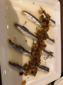 Anchovies tapa on the Norwegian Escape cruise ship