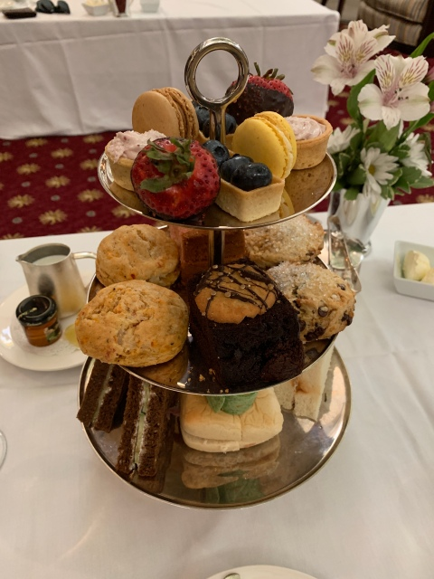 A tray with an assortment of snacks at afternoon tea at the Jefferson Hotel in Richmond, Virginia
