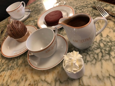 The hot chocolate at Angelina in Paris, France