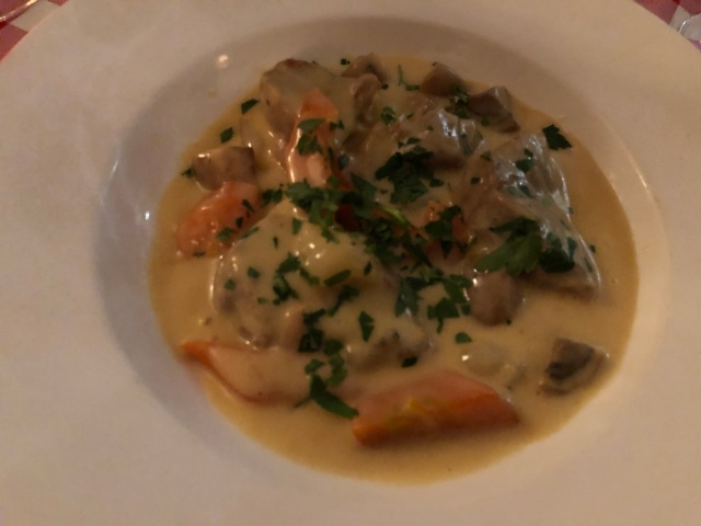 The blanquette de veau at Au Petit Tonneau in Paris, France
