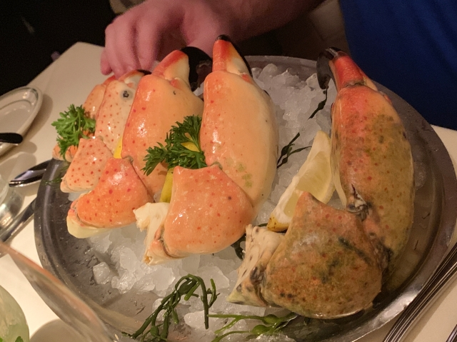 A selection of stone crab claws at Joe's Seafood, Prime Steak & Stone Crab in Washington, D.C.