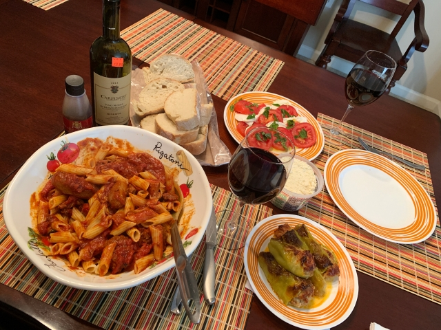 A picture of our Sunday Gravy Italian feast.